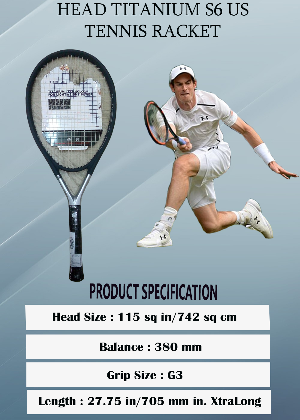 Head Ti S6 US Tennis Racquet_5
