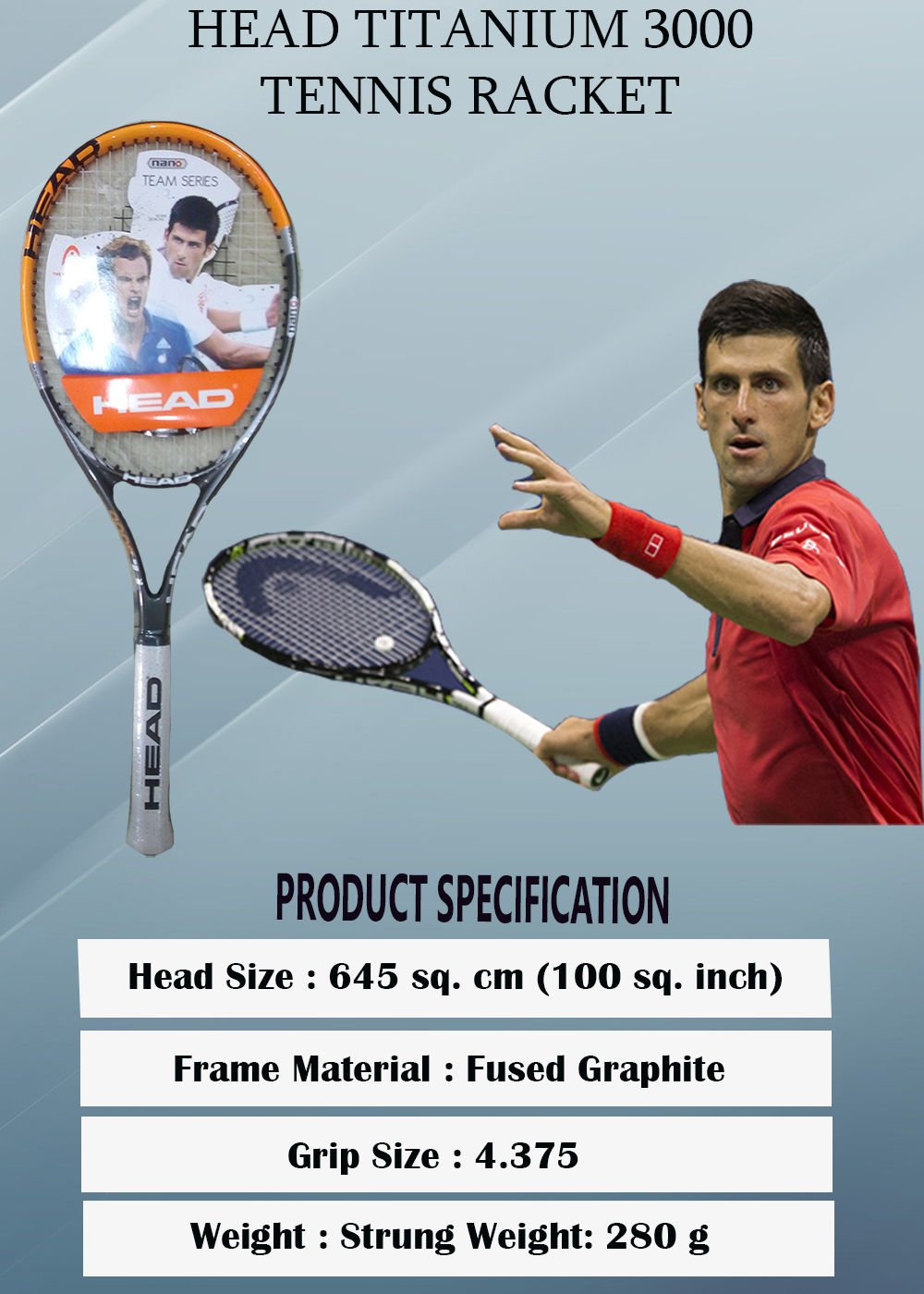 Head Titanium 3000 Tennis Racket_2