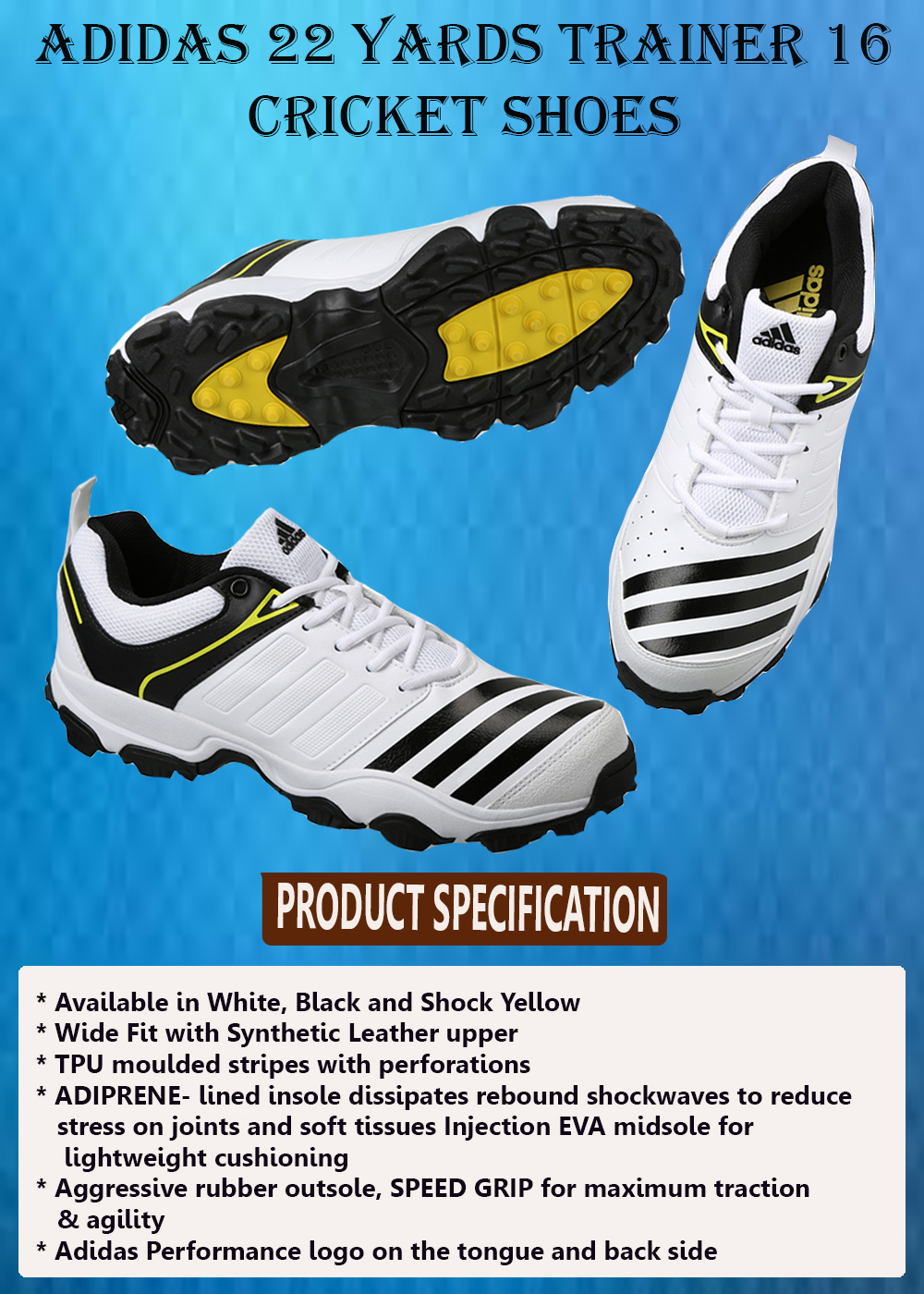 ADIDAS 22 YARDS TRAINER 16 CRICKET SHOES_2
