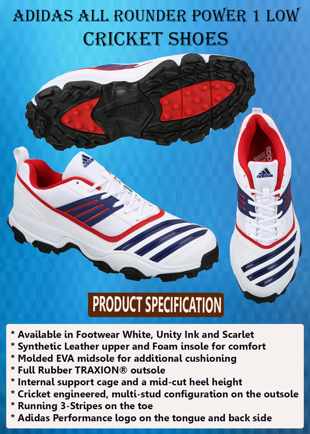 ADIDAS ALL ROUNDER POWER 1 LOW CRICKET SHOES_5