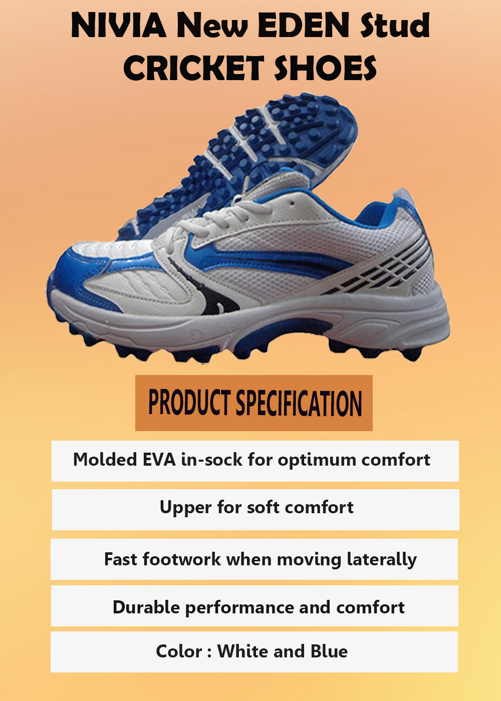 NIVIA New EDEN Stud Cricket Shoes White and Blue_2