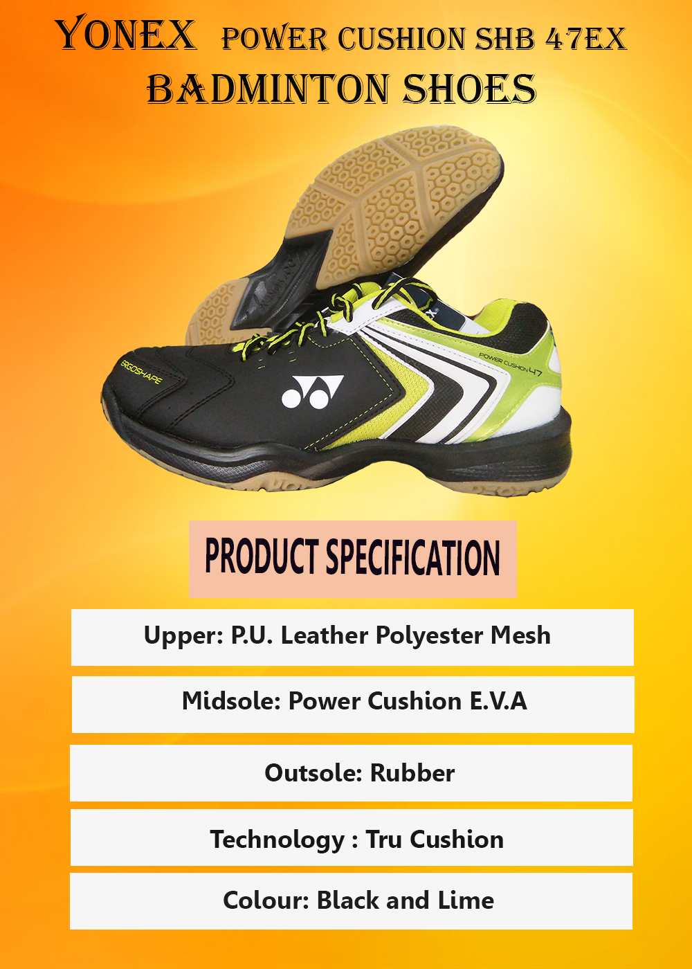 Yonex Power Cushion SHB 47EX Black and Lime_3