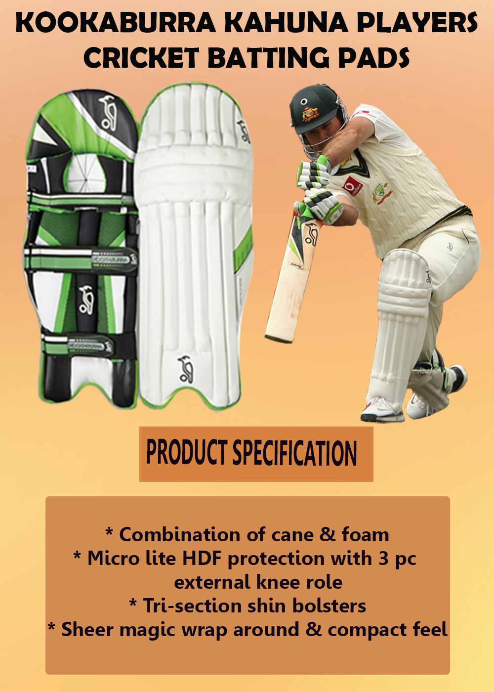 Kookaburra Kahuna Players cricket batting pads_2