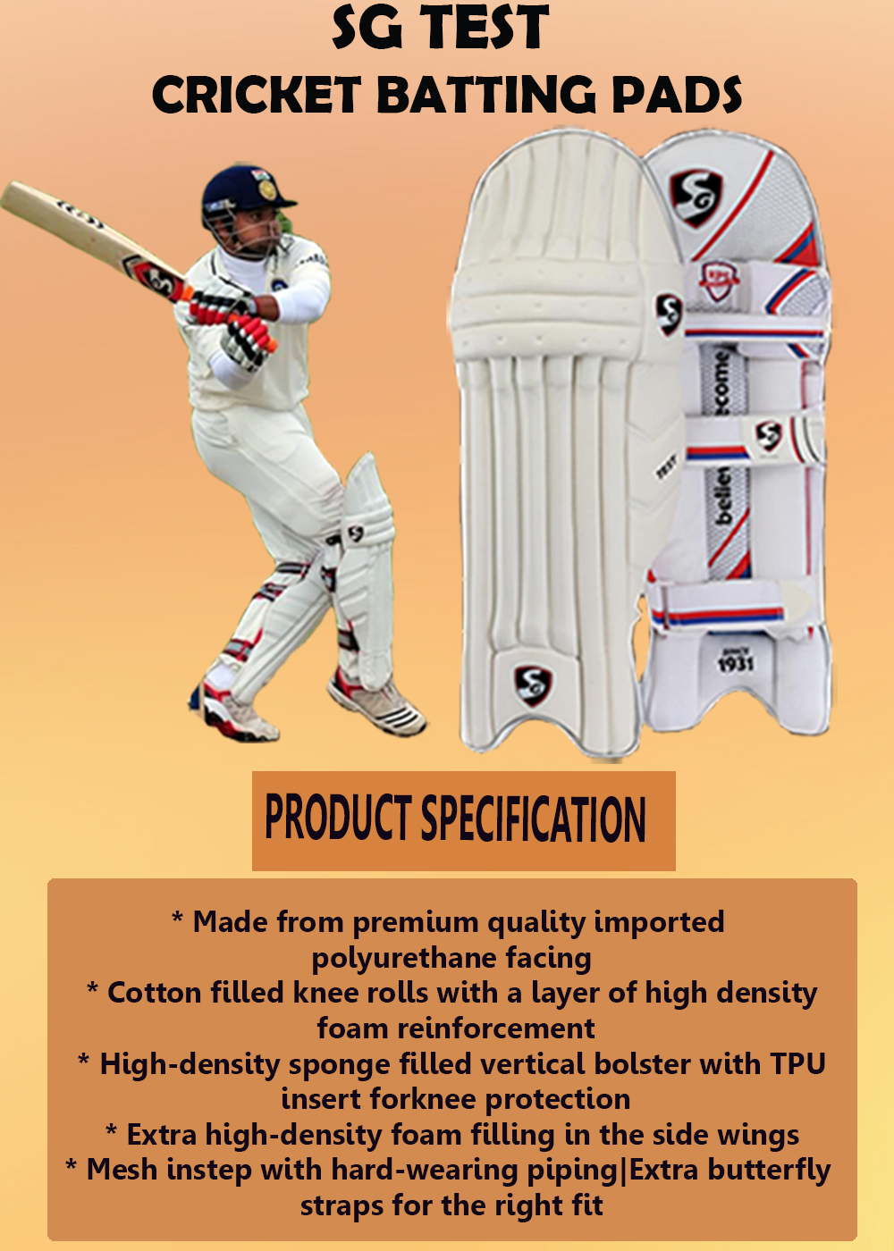 SG Test Cricket Batting Pads_4