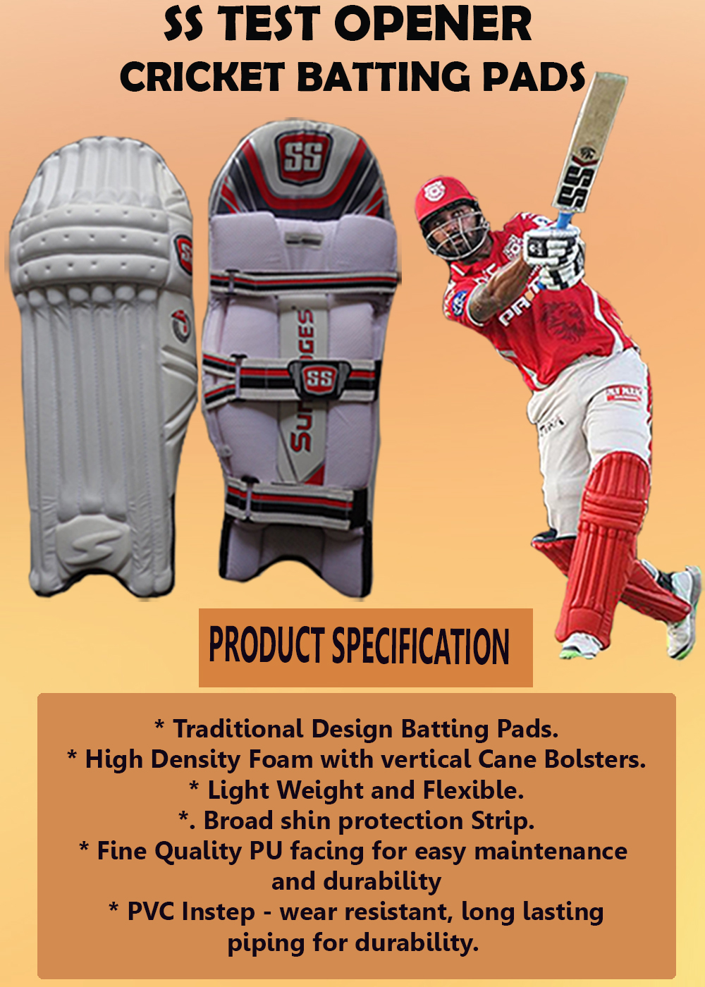 SS Test Opener Cricket Batting Leg Guard_5