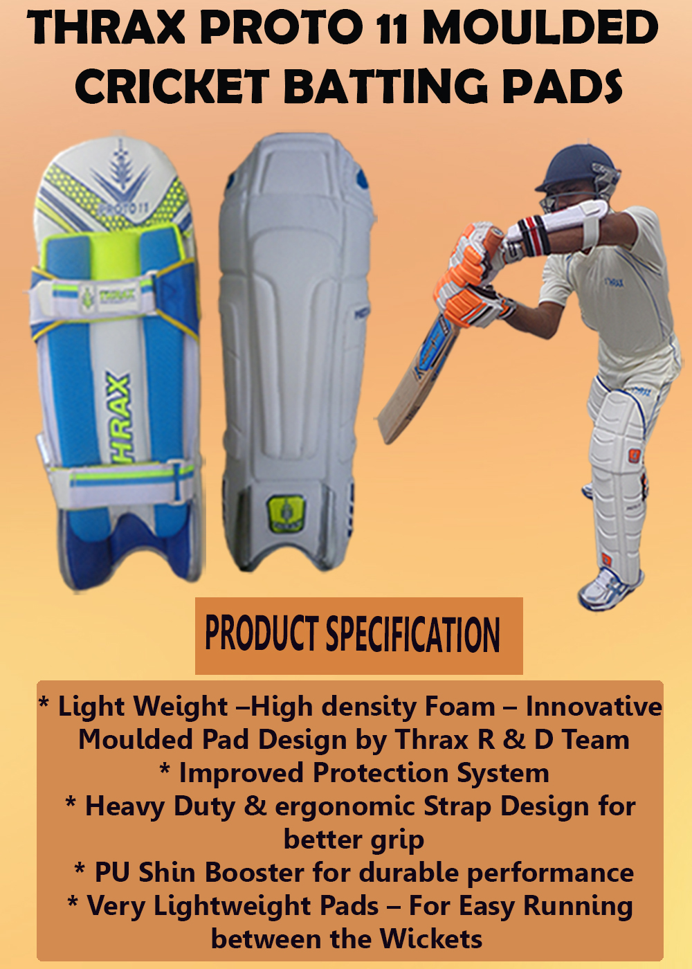 Thrax Proto 11 Moulded Cricket Batting Pads_6