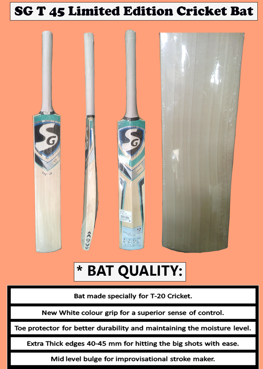 SG T 45 Limited Edition Cricket Bat_3