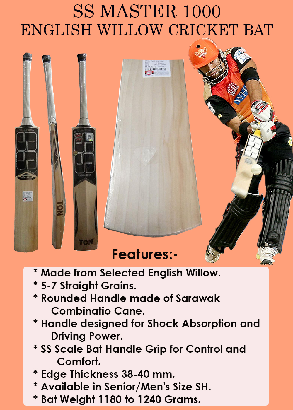 SS Master 1000 English Willow Cricket Bat_2