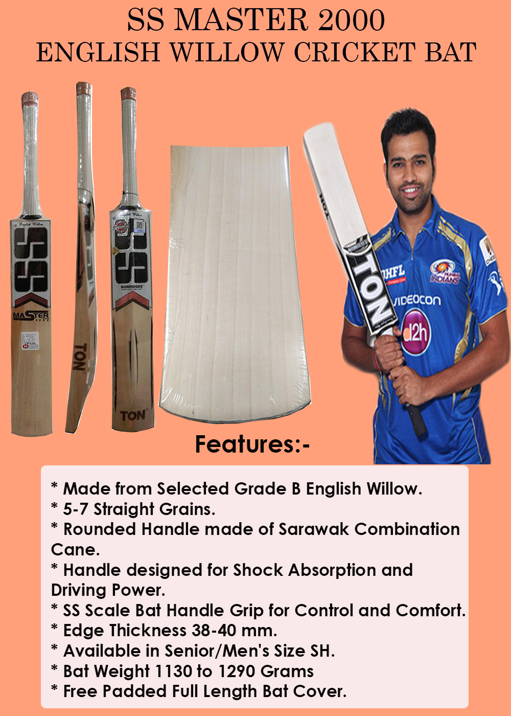 SS Master 2000 English Willow Cricket Bat_3
