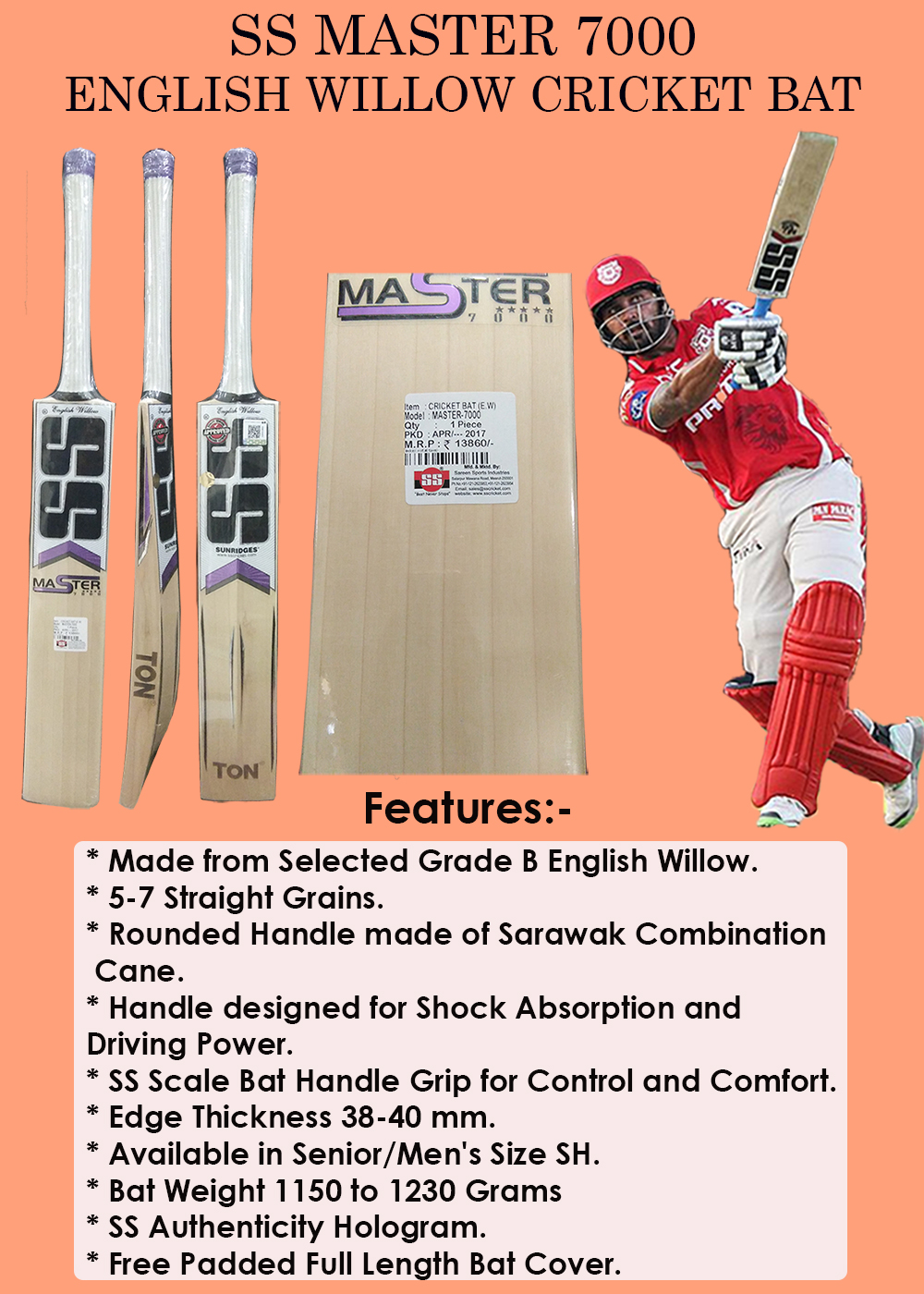 SS Master 7000 English Willow Cricket Bat_5