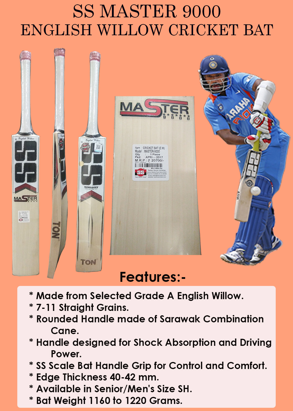 SS Master 9000 English Willow Cricket Bat_6