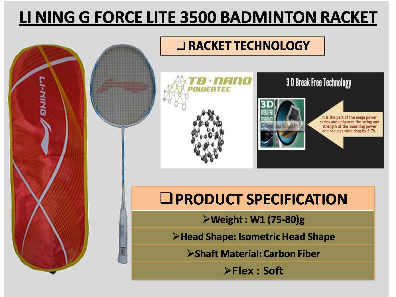LI NING G FORCE LITE 3500 BADMINTON RACKET_6