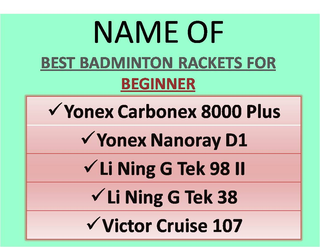 NAME OF BEST BADMINTON RACKETS FOR BEGINNER