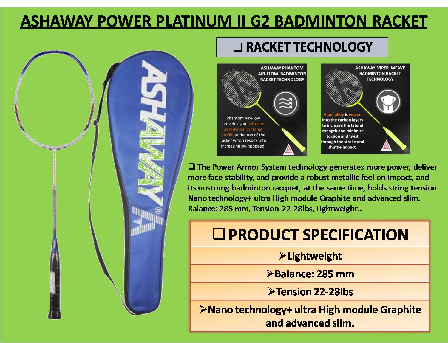 ASHAWAY POWER PLATINUM II G2 BADMINTON RACKET