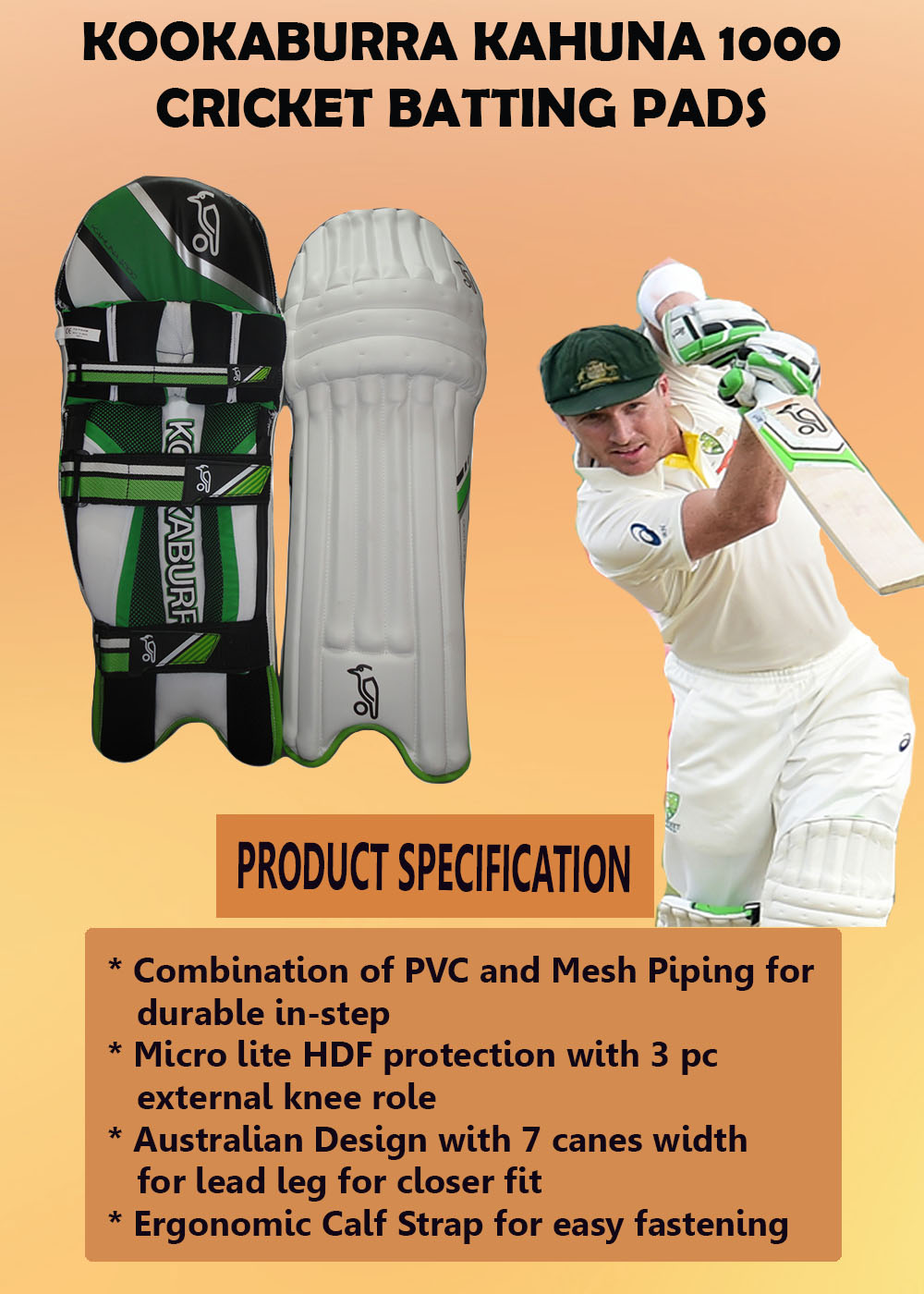 Kookaburra Kahuna 1000 cricket batting pads_2