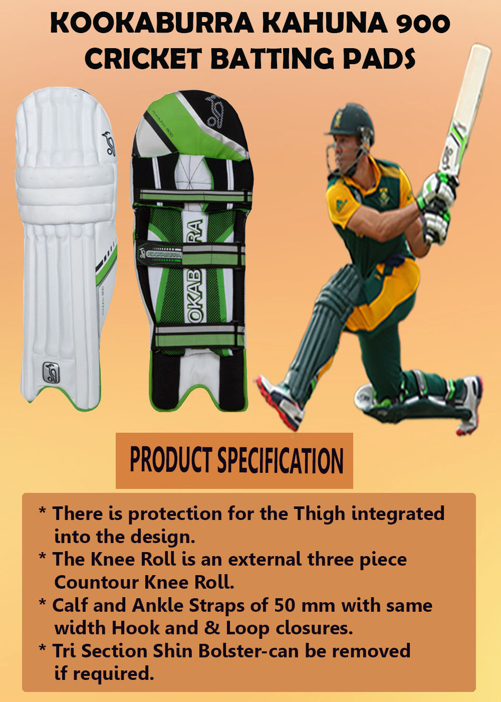 Kookaburra Kahuna 900 Cricket Batting Pads_3