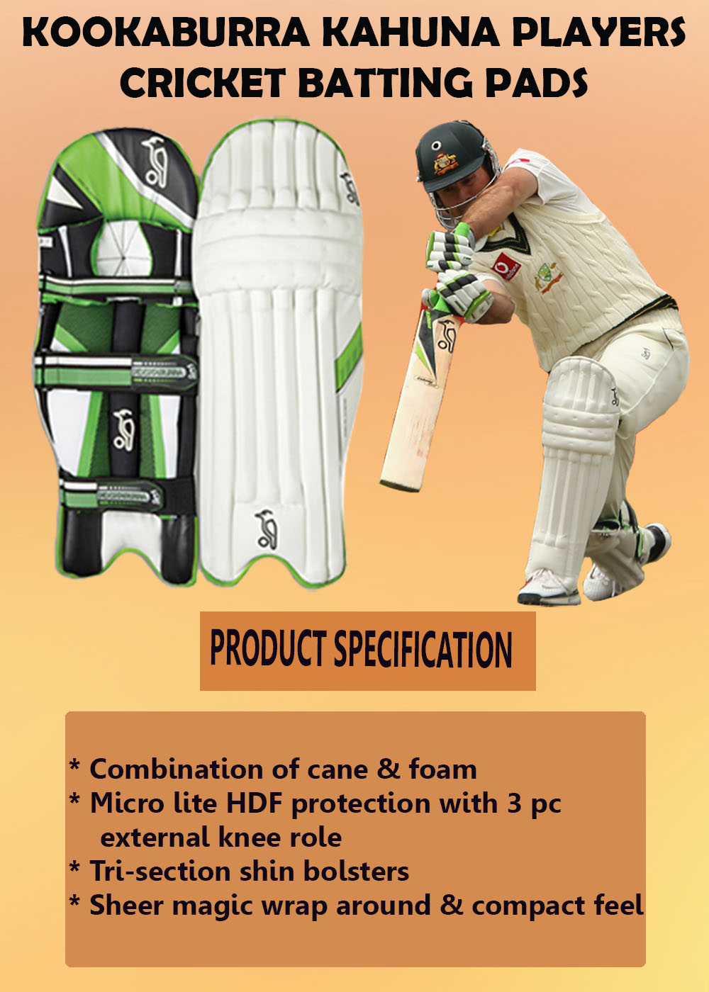 Kookaburra Kahuna Players cricket batting pads_1