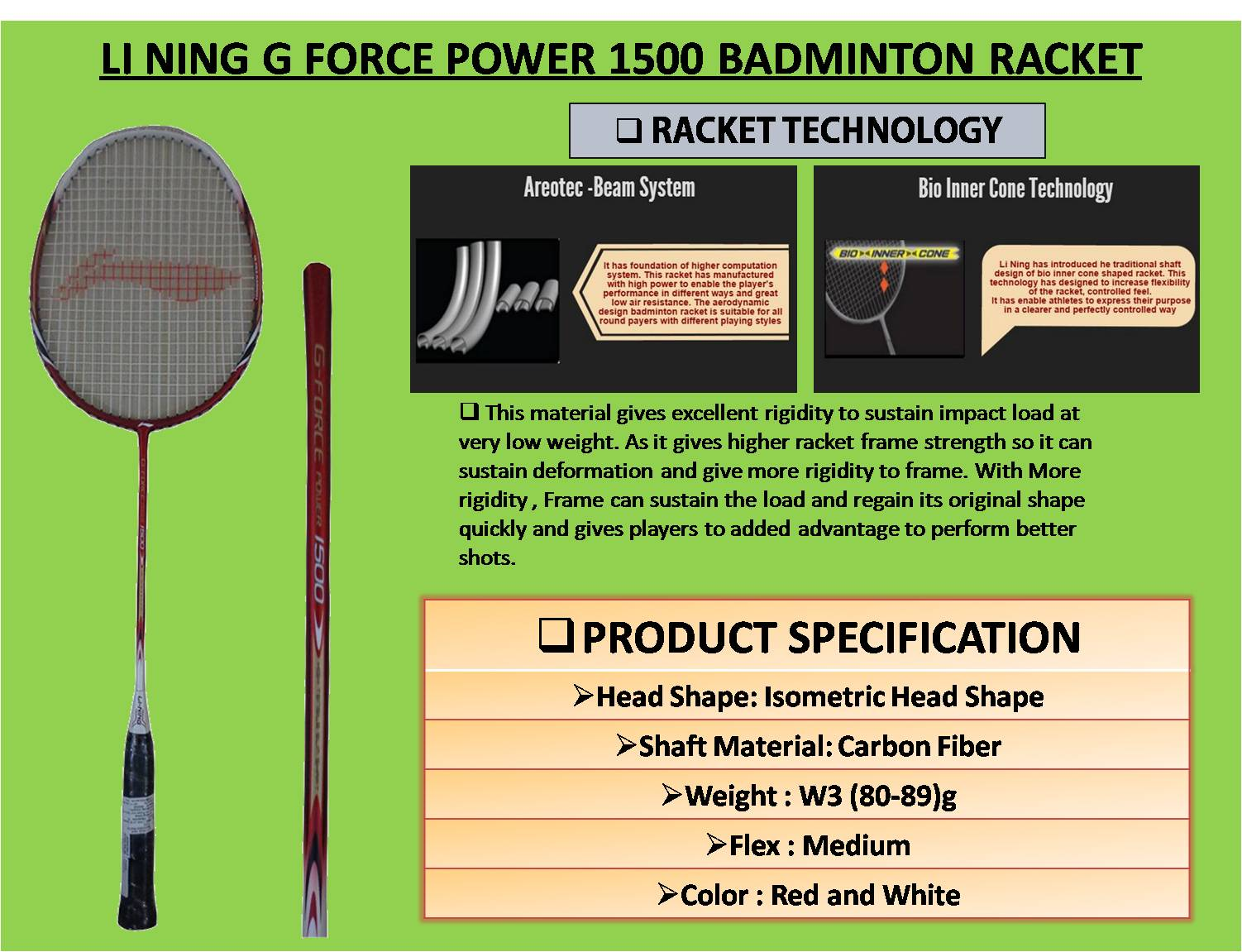 LI NING G FORCE POWER 1500 BADMINTON RACKET
