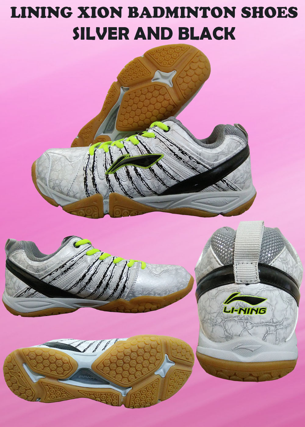 LI NING XION Badminton Shoes Silver and Black_2