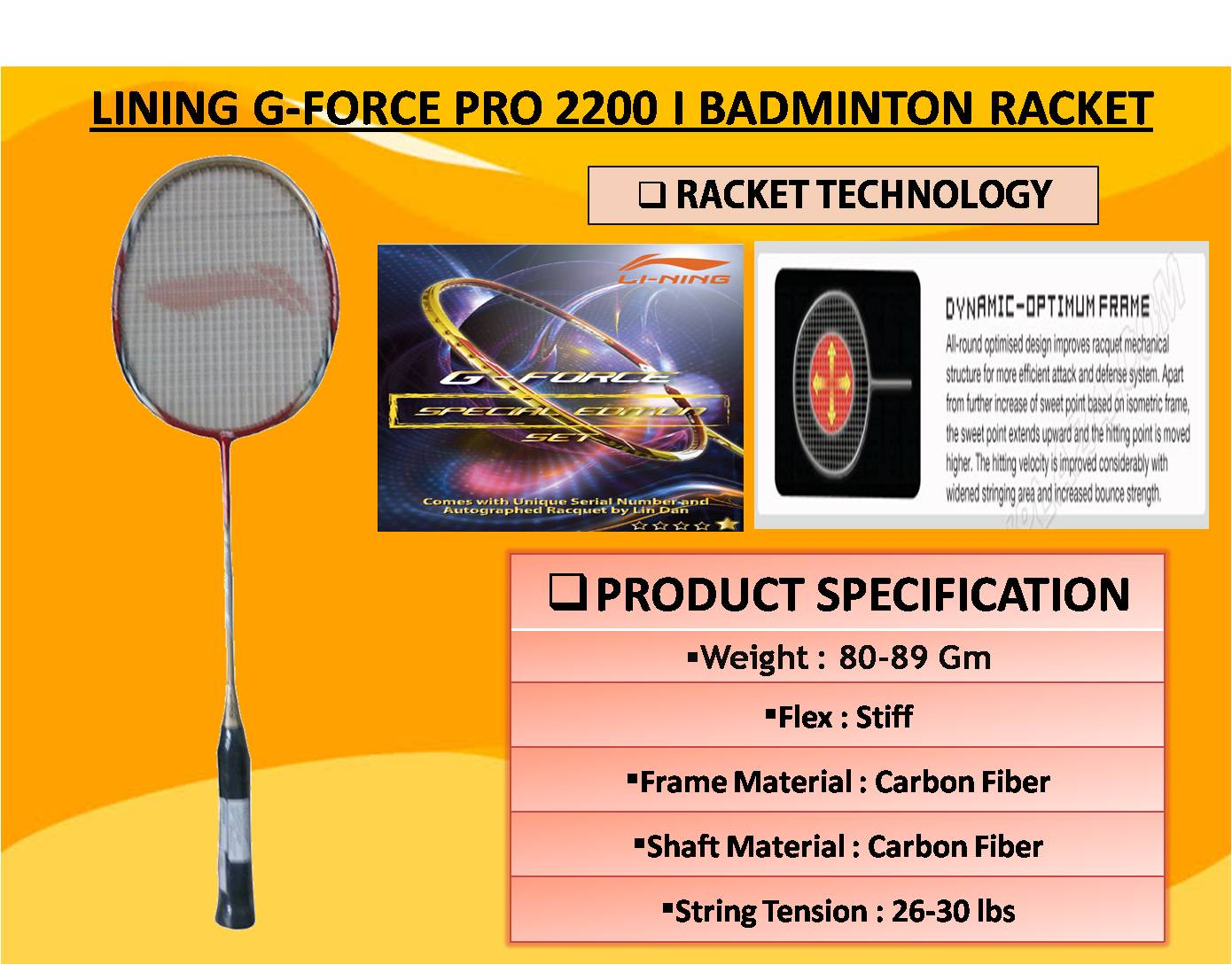 LINING G-FORCE PRO 2200 I BADMINTON RACKET
