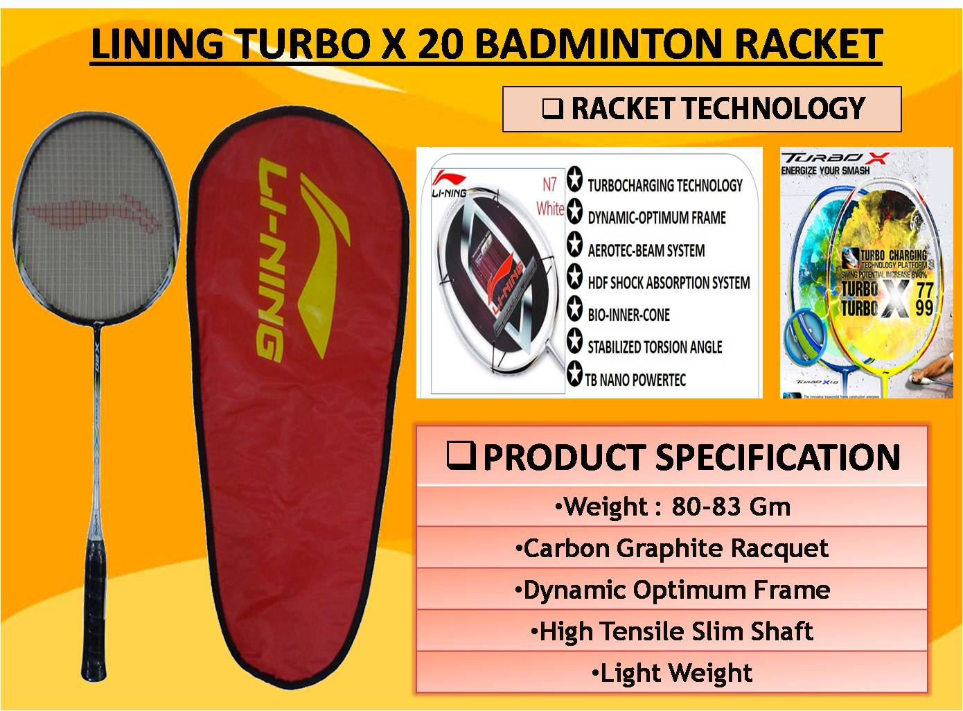 LINING TURBO X 20 BADMINTON RACKET