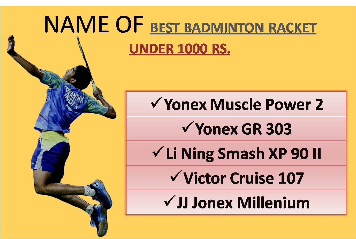 NAME OF BEST BADMINTON RACKET UNDER 1000 RS