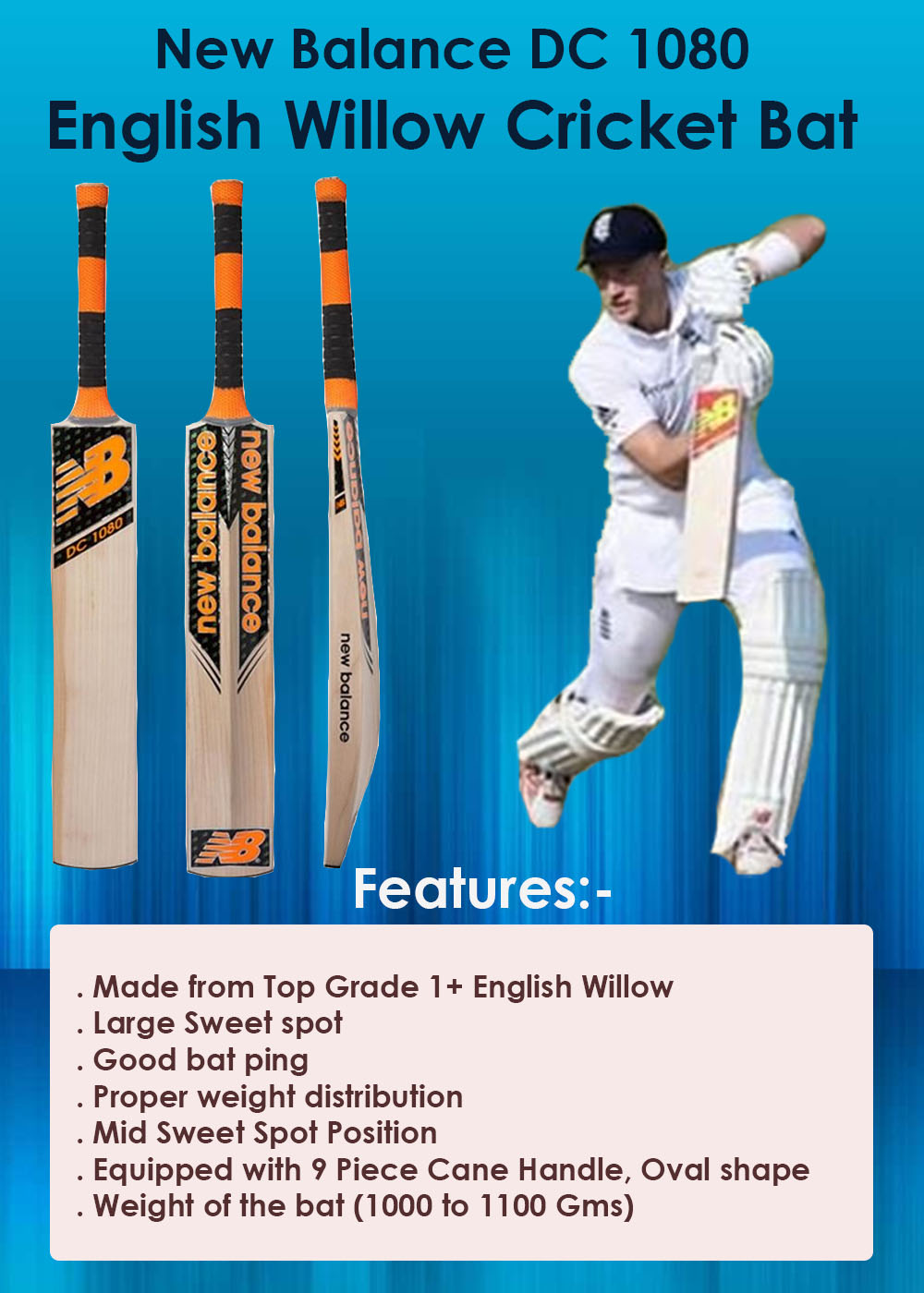 New Balance DC 1080 English Willow Cricket Bat_1