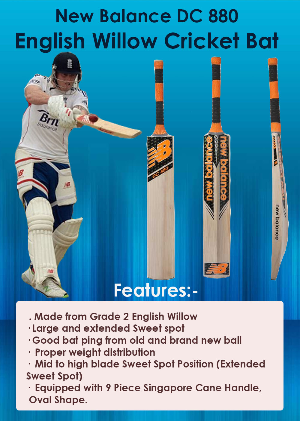 New Balance DC 880 English Willow Cricket Bat_2