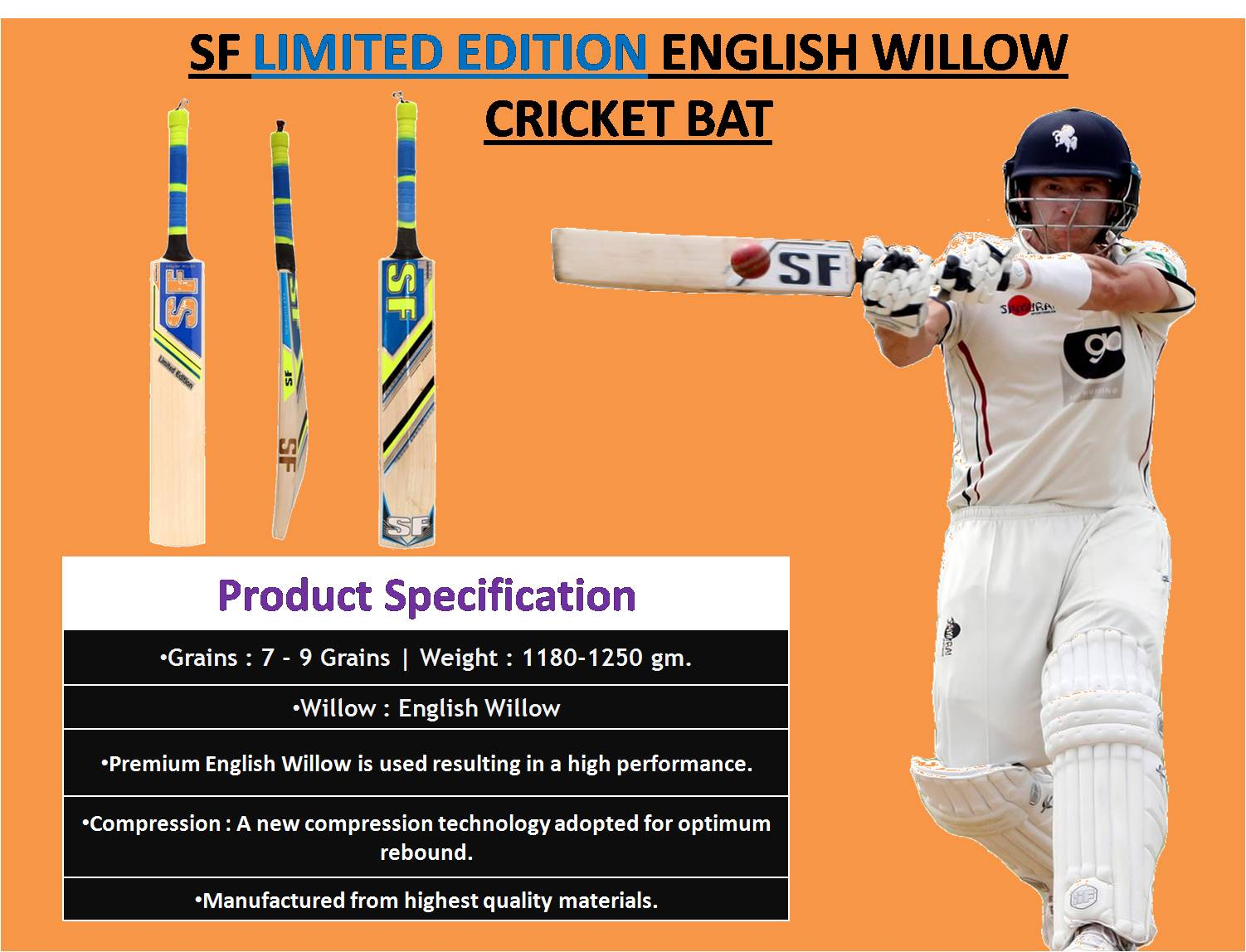 SF LIMITED EDITION ENGLISH WILLOW CRICKET BAT_2