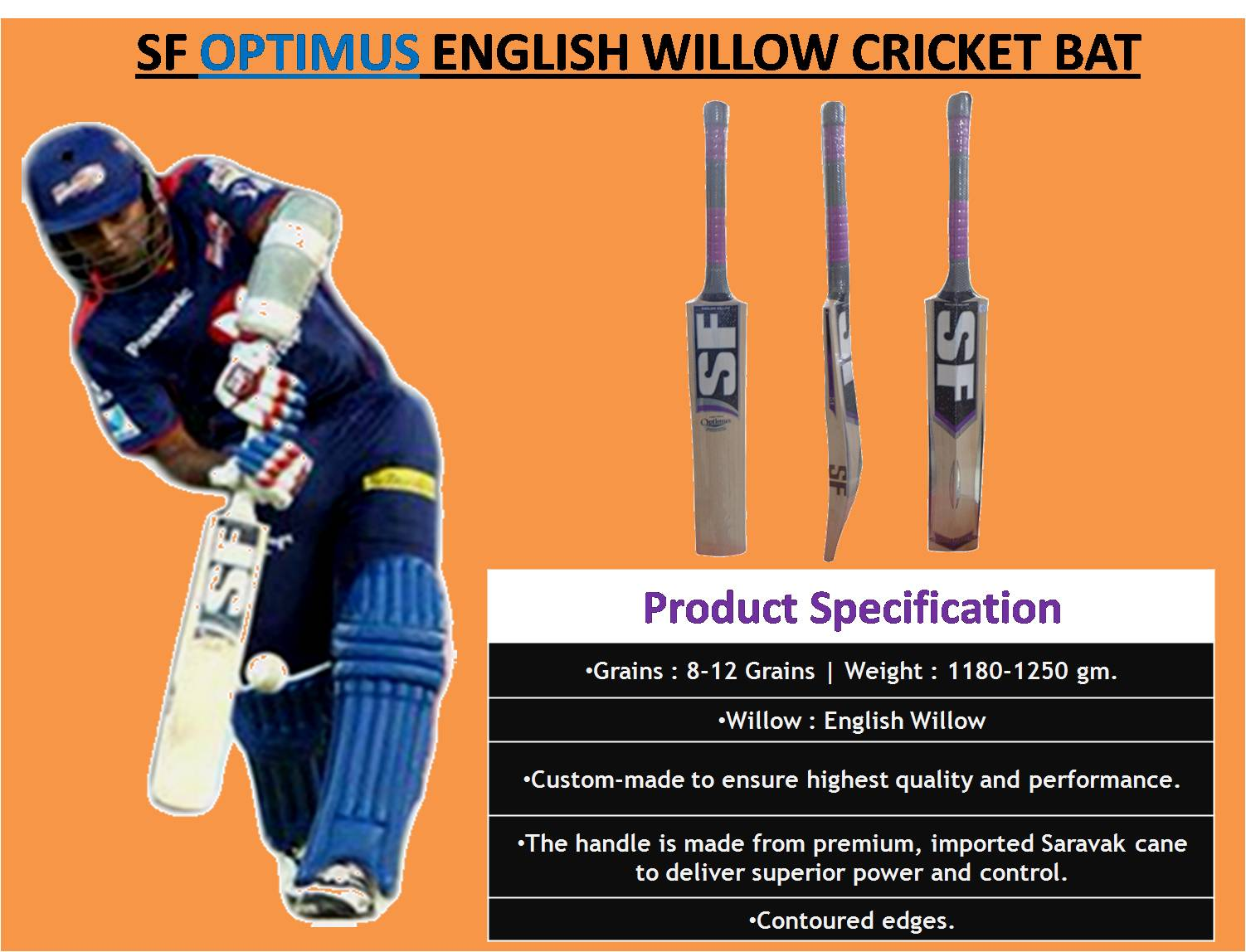 SF OPTIMUS ENGLISH WILLOW CRICKET BAT_1