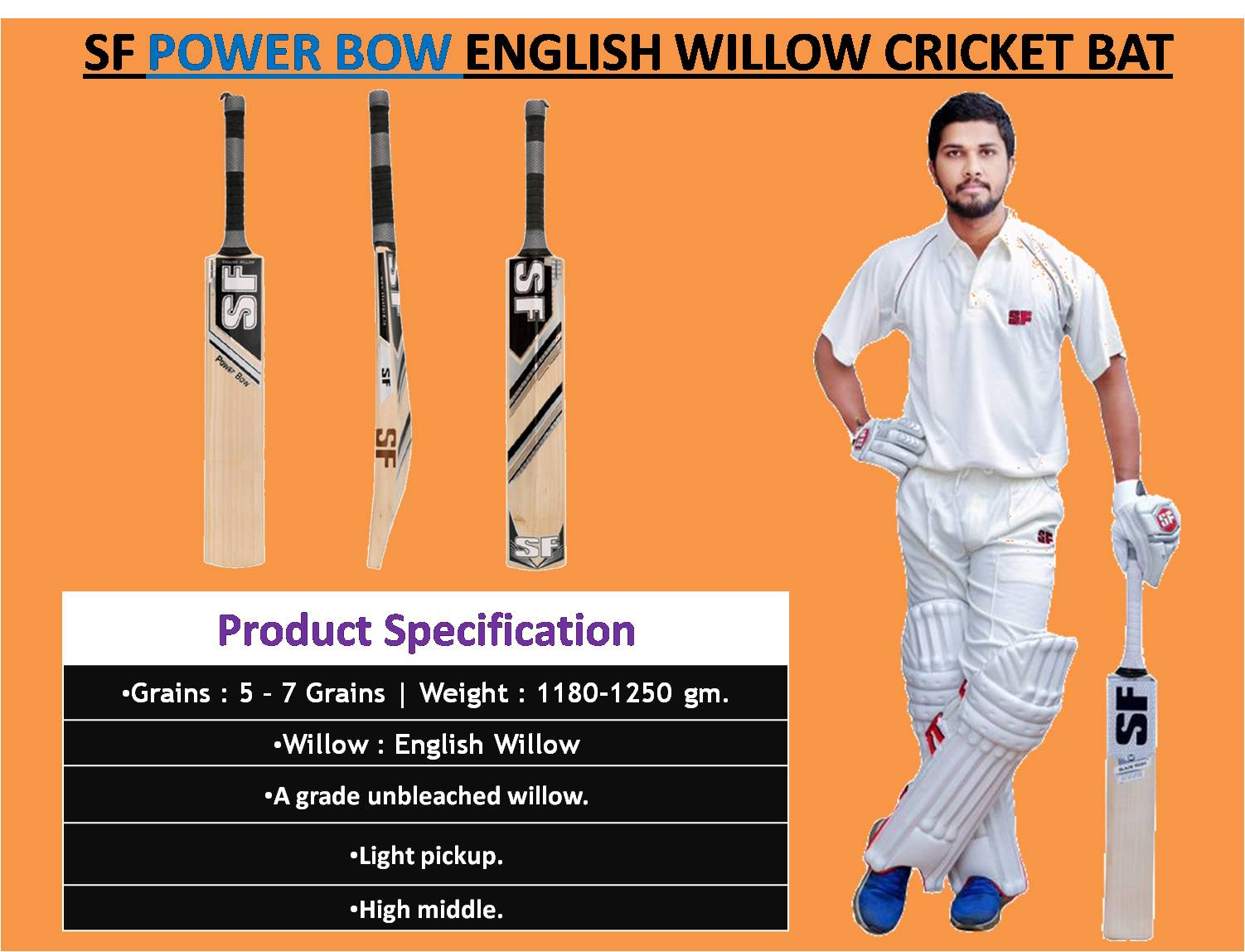 SF POWER BOW ENGLISH WILLOW CRICKET BAT_5