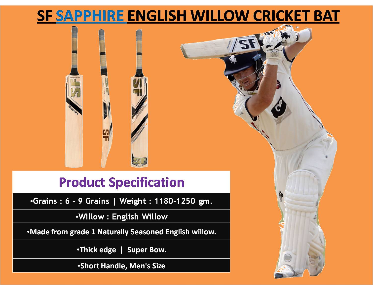 SF SAPPHIRE ENGLISH WILLOW CRICKET BAT_4