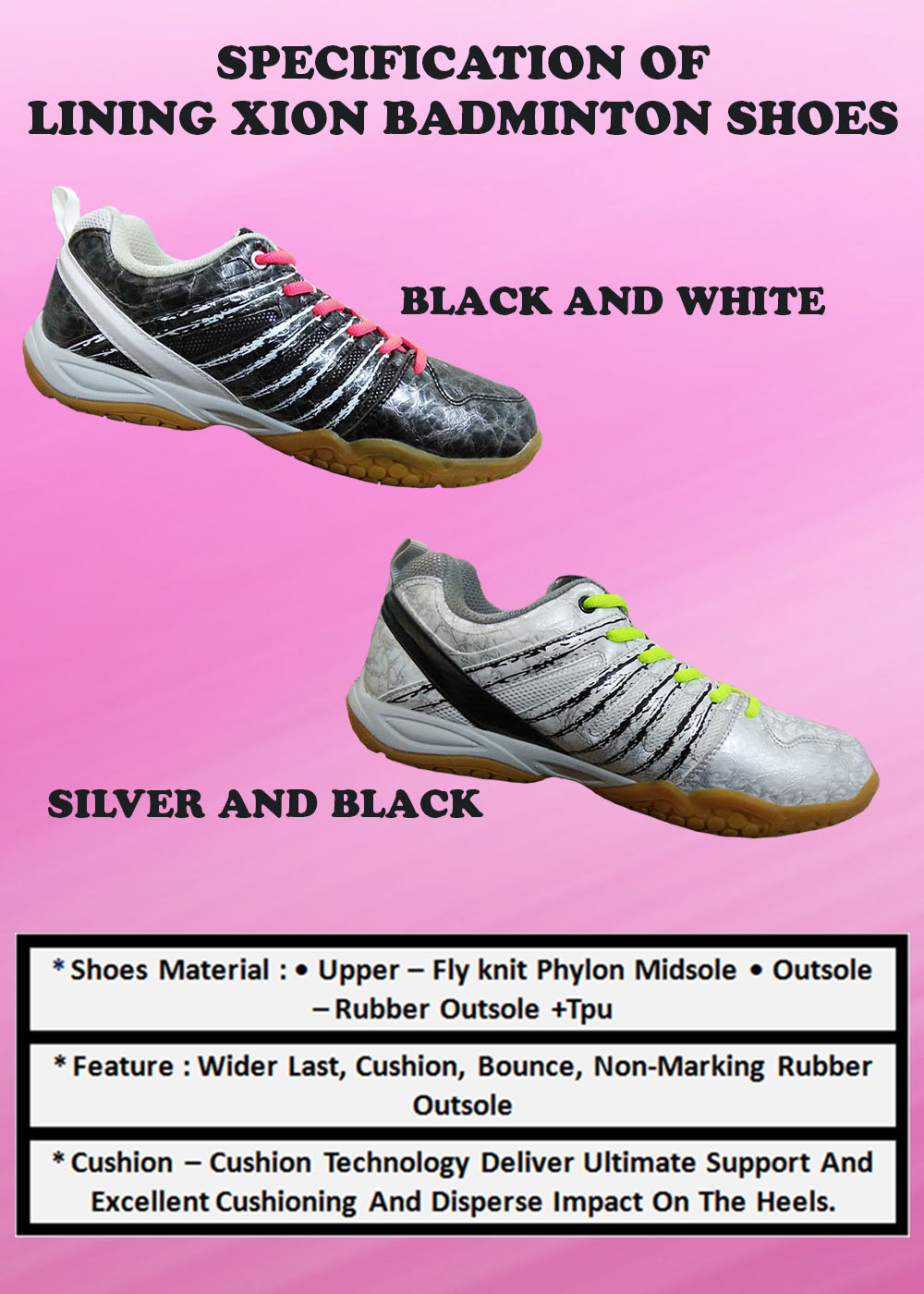 Specification of LI NING XION Badminton Shoes_4