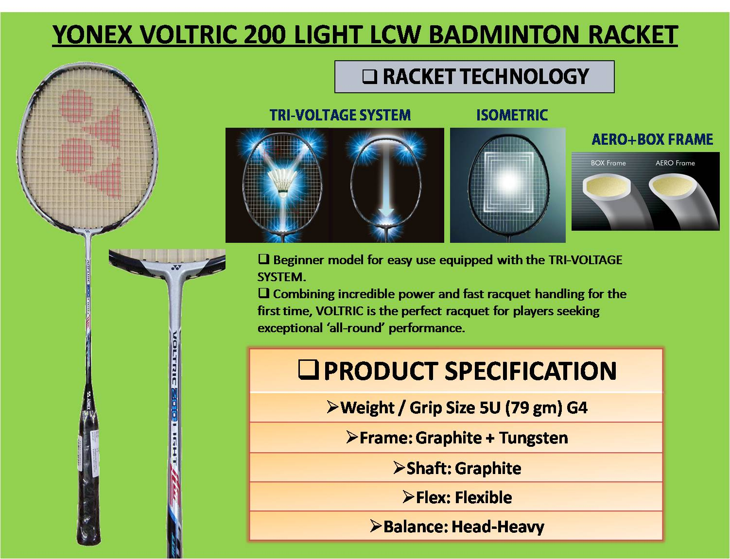 Yonex Voltric 200 Light LCW Badminton Racket
