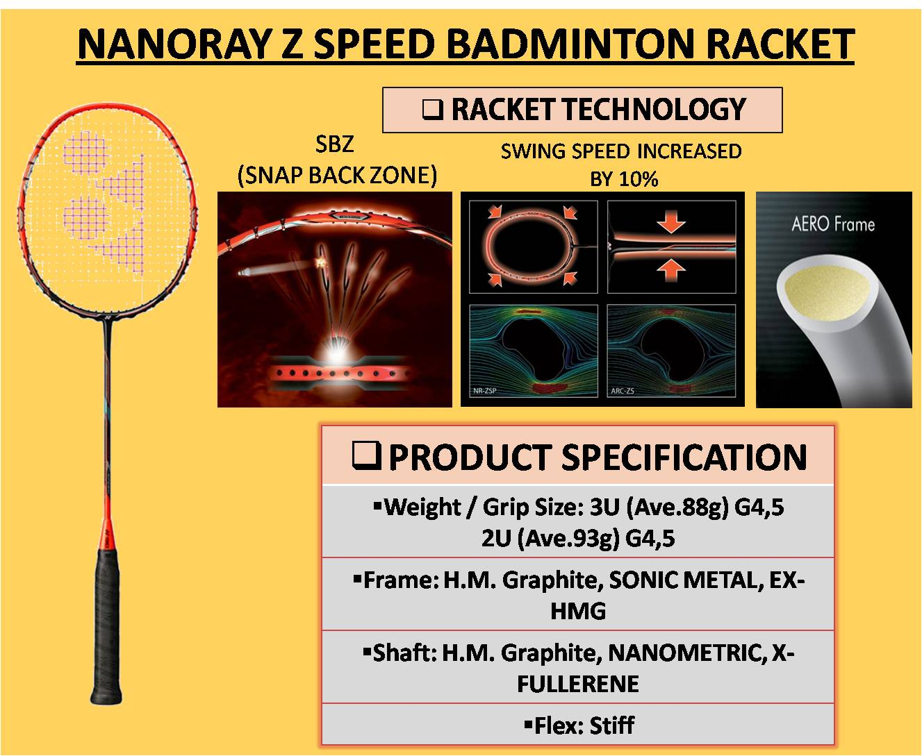 NANORAY Z SPEED BADMINTON RACKET
