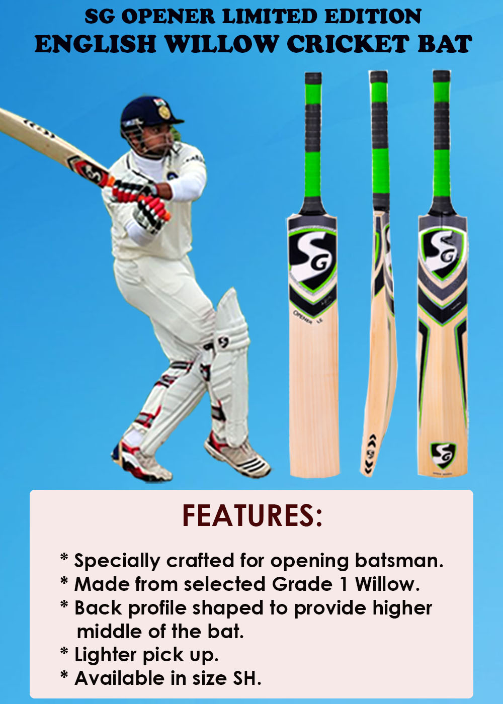 SG Opener Limited Edition English Willow Cricket Bat_1