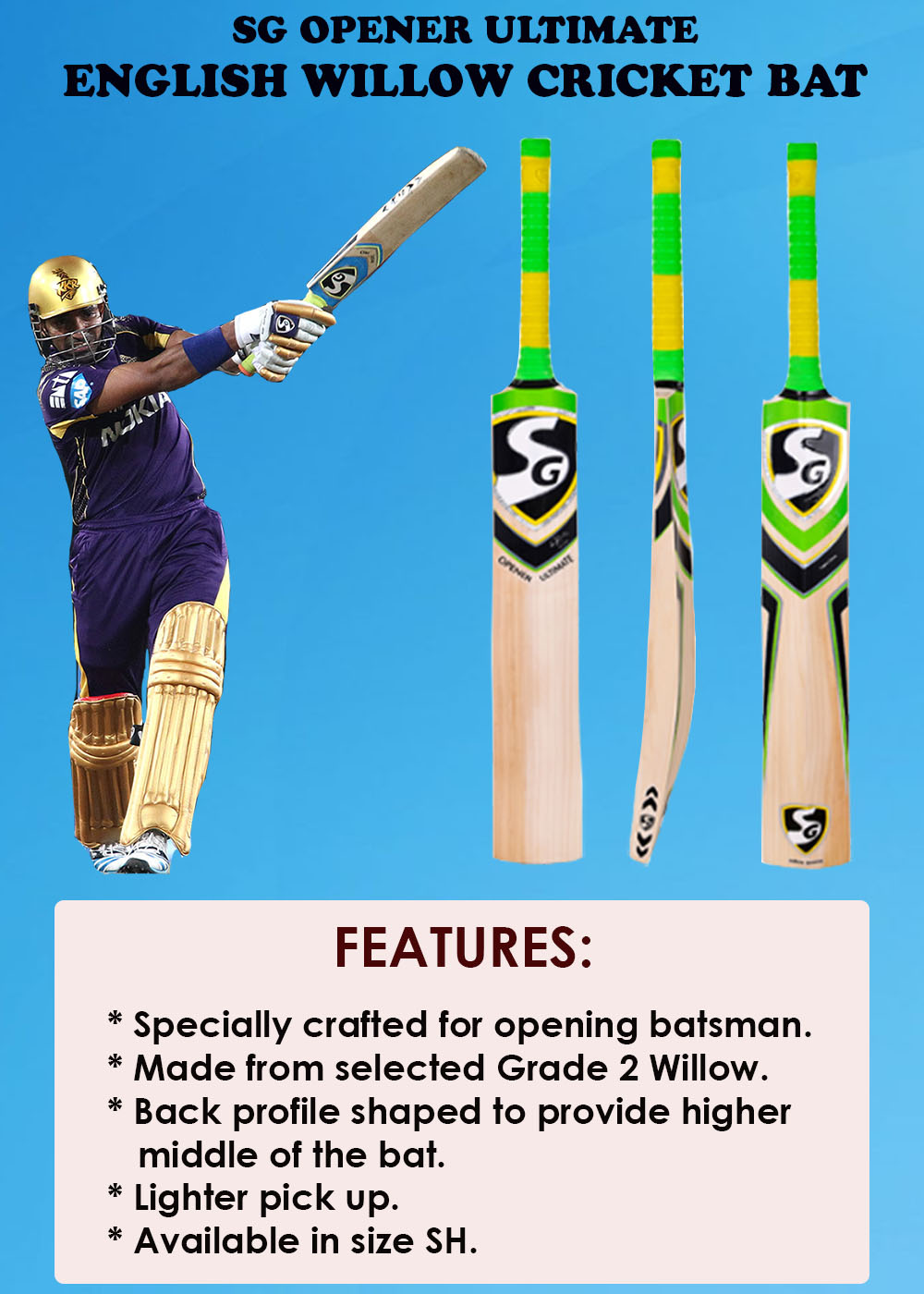 SG Opener Ultimate English Willow Cricket Bat_3