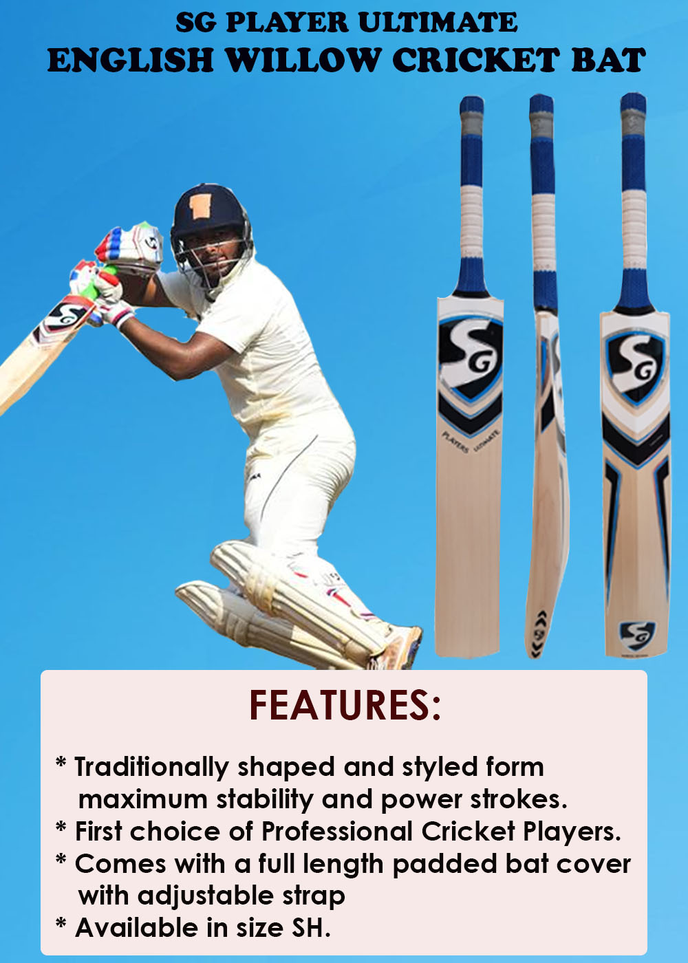 SG Player Ultimate English Willow Cricket Bat_2