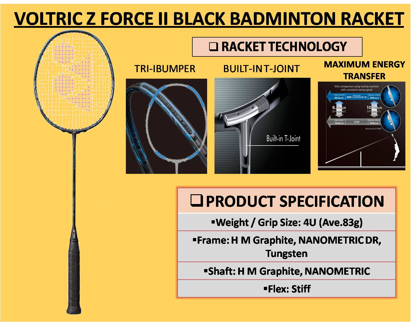 VOLTRIC Z FORCE II BLACK BADMINTON RACKET