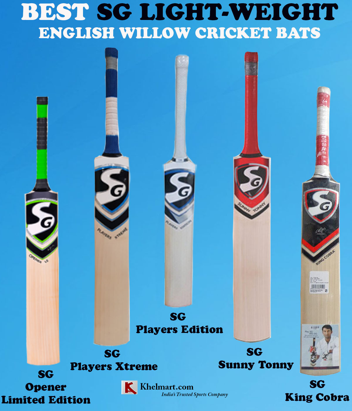 BEST SG LIGHT WEIGHT ENGLISH WILLOW CRICKET BATS_1