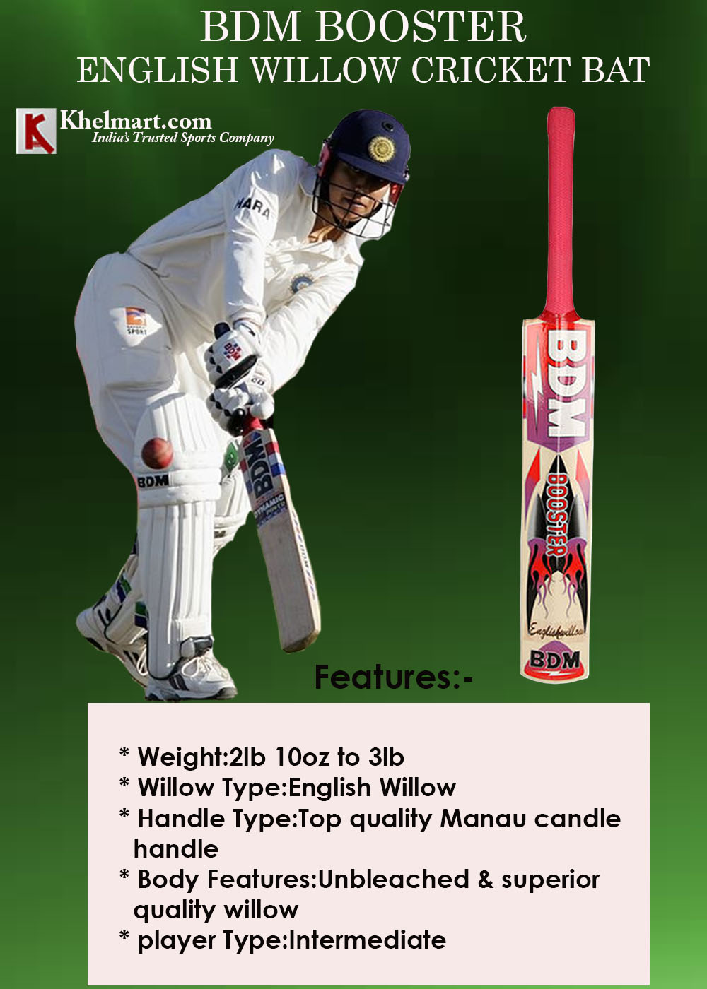 BDM Booster English Willow Cricket Bat