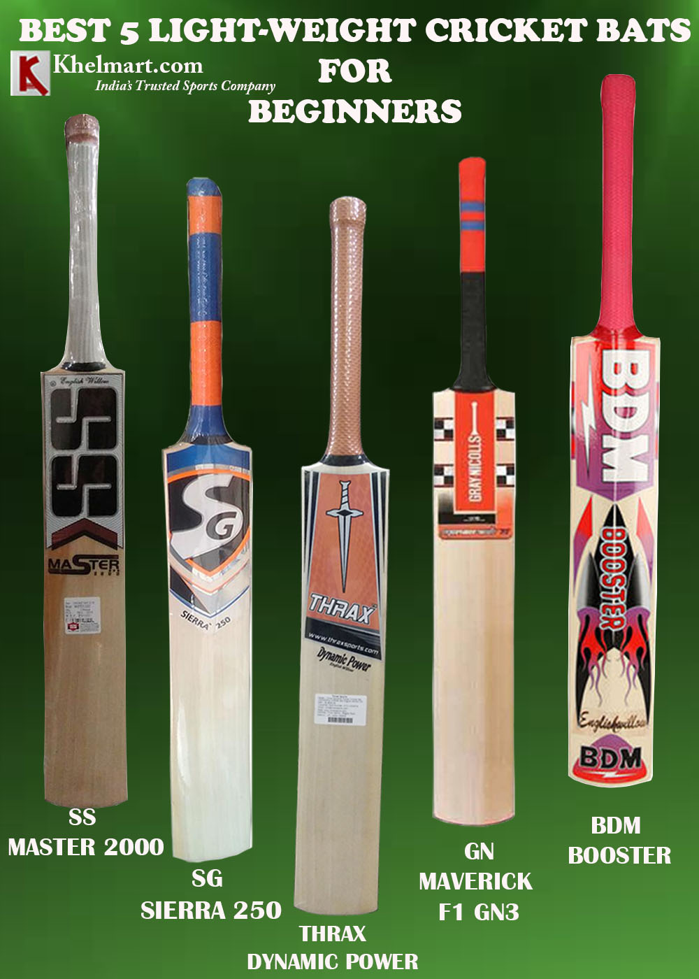 BEST 5 LIGHT WEIGHT CRICKET BATS FOR BEGINNERS