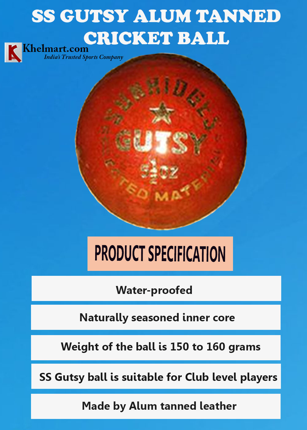 SS Gutsy Alum Tanned Cricket Ball