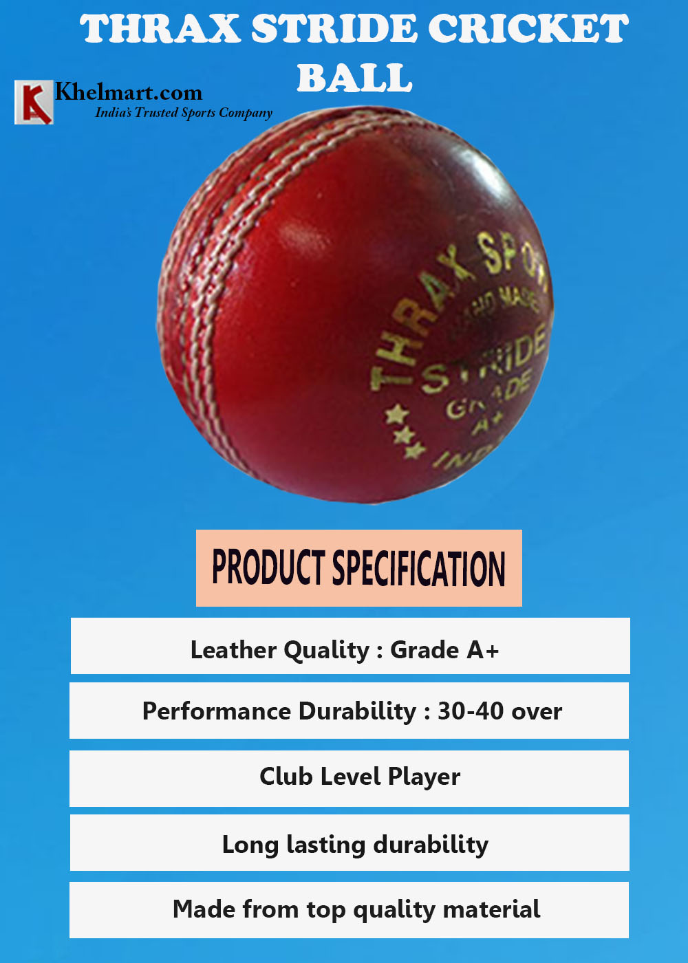 Thrax Stride Cricket Ball