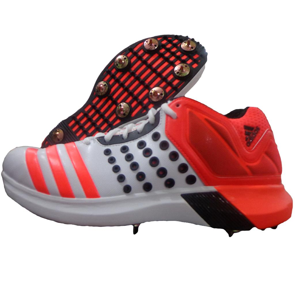 003f5acf876e Adidas ADIPOWER Vector Mid Full Spike Cricket Shoes Red and White ...