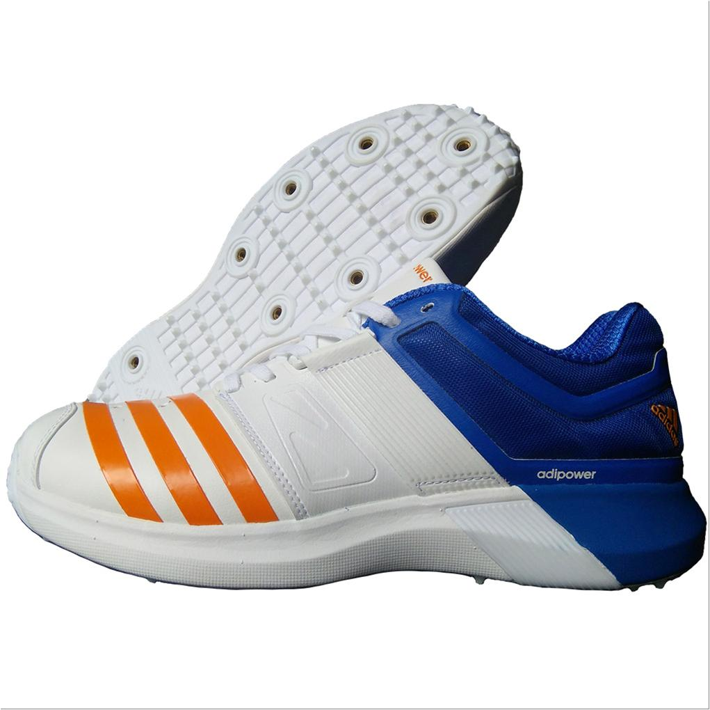 brand new aacee 1a325 Adidas AdiPower Vector Spike Cricket Shoes White Blue and Orange ...