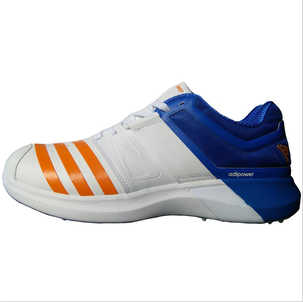 Adidas AdiPower Vector Spike Cricket Shoes White Blue and