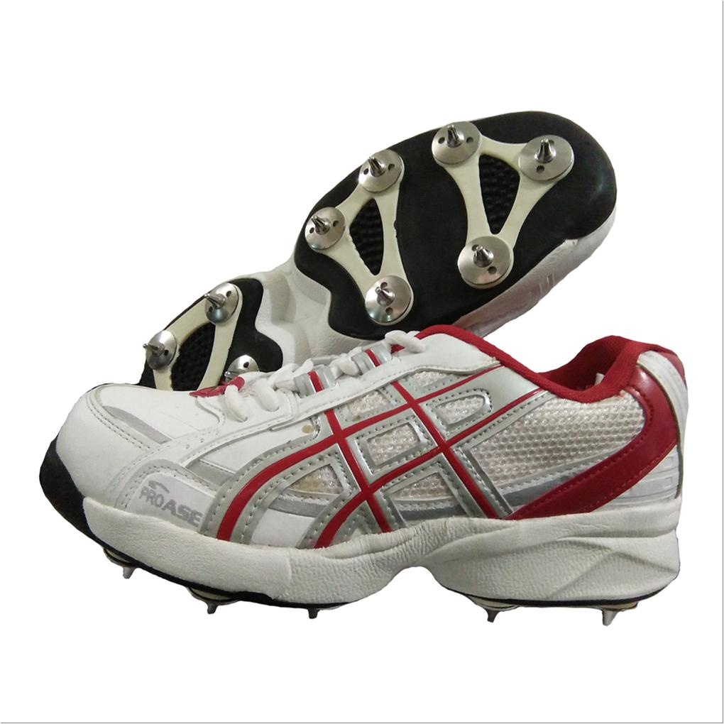 e927aaf93281 PRO ASE FS 101 Full Spike Cricket Shoes White and Red - Buy PRO ASE ...