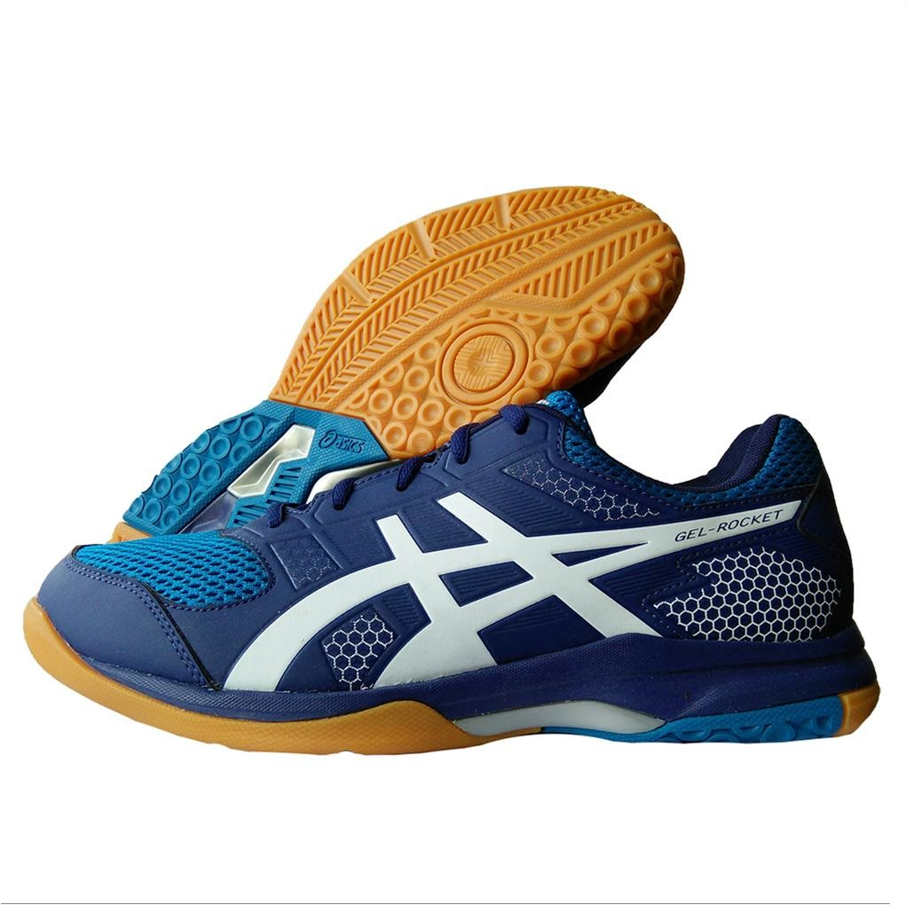bcf8664c39be ASICS Gel Rocket 8 Badminton Shoes Indigo Blue Silver and white ...
