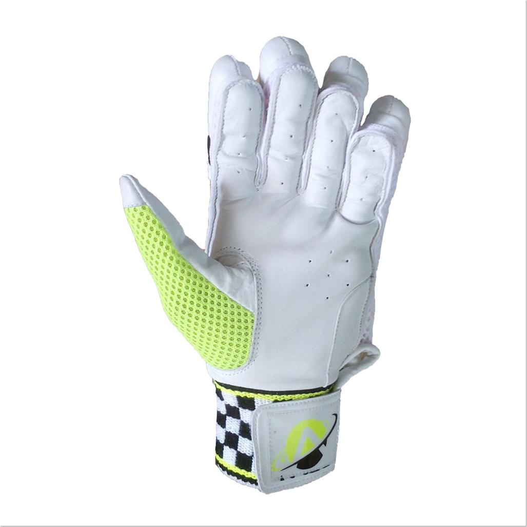 Aver Plus Cricket Batting Gloves White Black And Lime